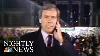 Tom brokaw reported live from the berlin wall on november 9, 1989, as cold war symbol came tumbling down. he returns to germany three decades later re...