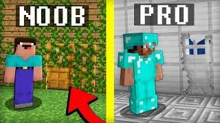 Noob vs Pro : INVISIBLE HIDDEN DOOR in Minecraft battle family