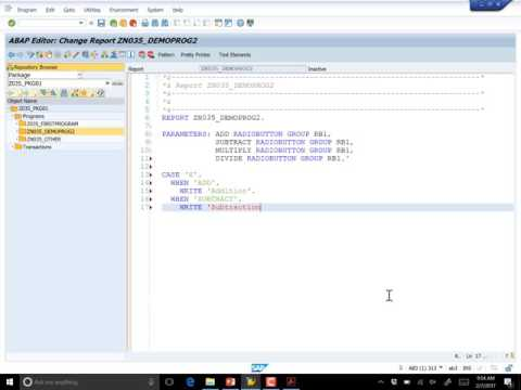 Lecture 7, ABAP Radio Buttons and Internal Tables, part 2