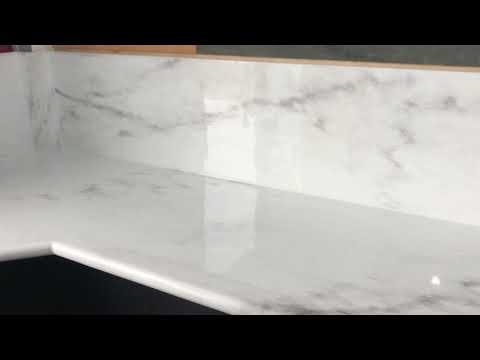 Faux Marble Epoxy Countertops with matching Backsplash