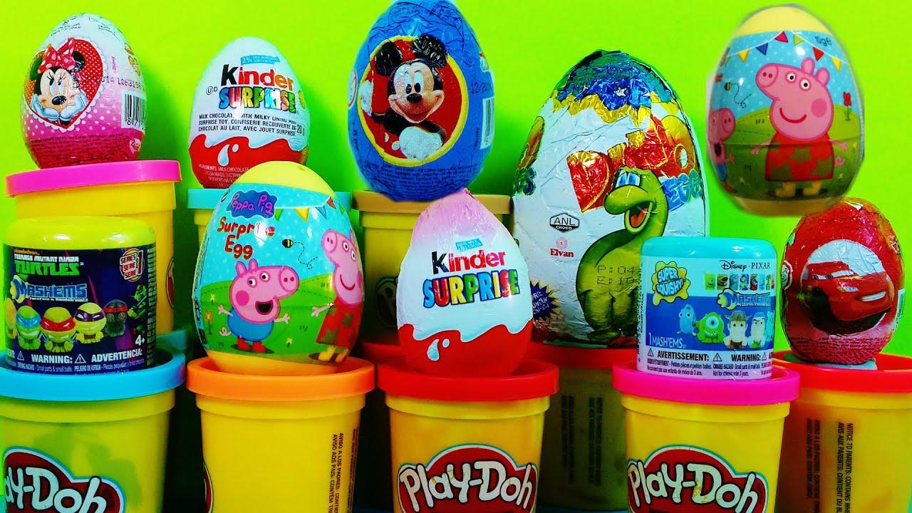 Disney Pixar Mas-hems Squishy & Kinder Surprise Eggs Peppa Pig - YouTube