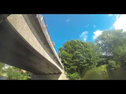 Wild swimming - Backflips off Glasbury Bridge