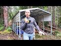 BUILDING SHELTER - LIVING OFF GRID | Freezing & Wet in Canadian Wilderness