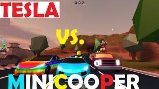Roblox Jailbreak - Tesla Vs. Minicooper(GETS DESTROYED!!), Lambo, Porsche, Pickup, & Camaro