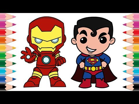 how to draw ironman and superman coloring pages for kids learn colors superheroes for children