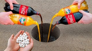 Experiment: Coca Cola, Fanta and Mentos Underground!