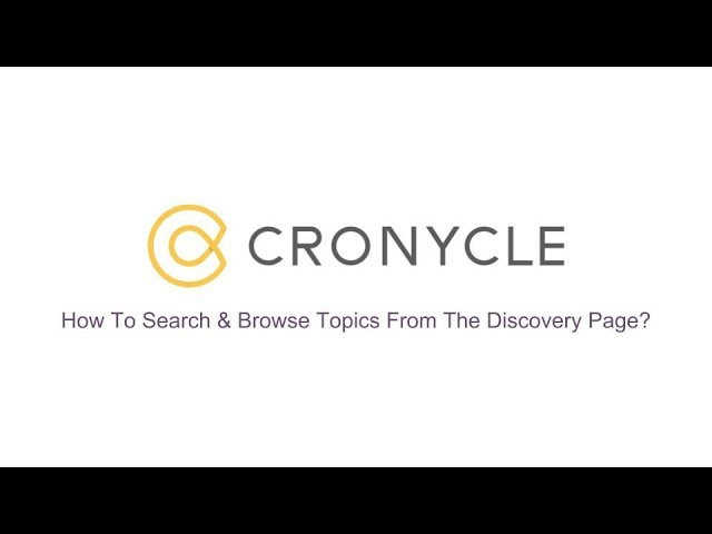 Search & Browse Topics From The Discovery Page