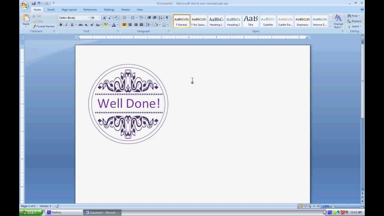 Adding Text to Digital Stamps in MS Word