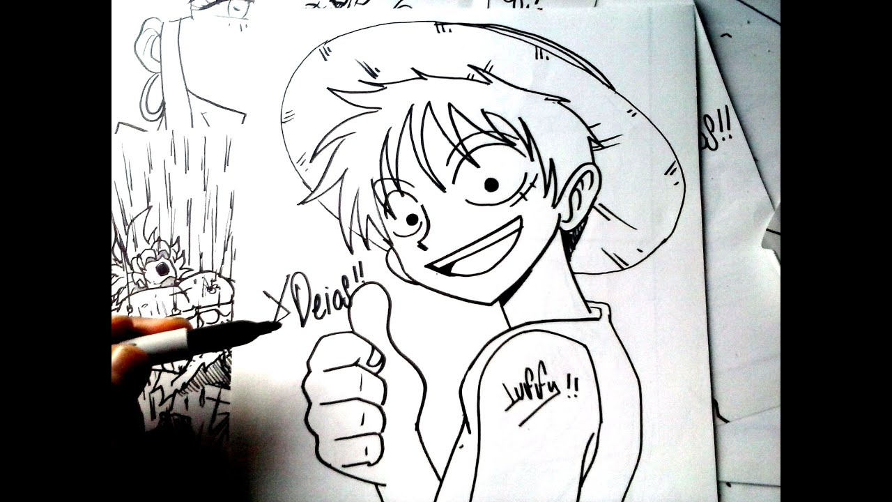 One piece mira y animate a dibujar a monkey luffy xdeios for One piece dibujos