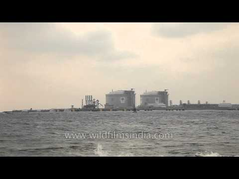 LNG storage and regasification terminal of Petronet as seen from Fort Kochi Beach