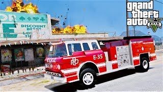 GTA 5 Firefighter Mod Using A Old Spare 1975 Ford C-900 Fire Truck Because Our Main Rig Broke Down