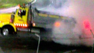 (ORIGINAL) Western Star Dump Truck Does Burnouts And Donuts At A Race Track!!!