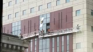 Installing window at Portlandia Building