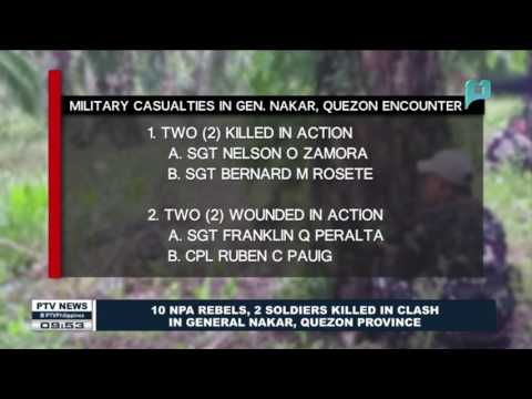10 NPA rebels, 2 soldiers killed in clash in General Nakar, Quezon Province