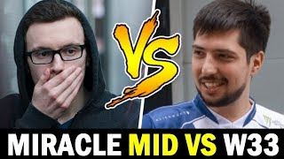 MIRACLE mid vs W33 — Who is the better mid for Nigma? Dota2
