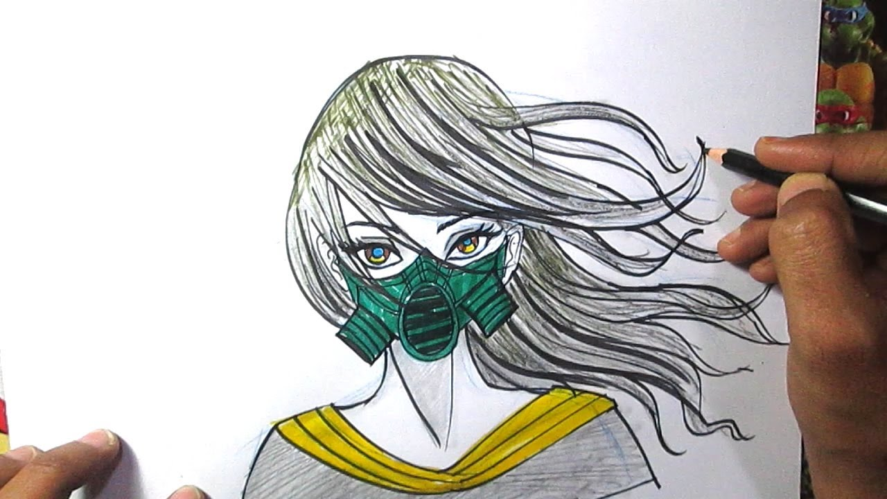 How to draw Anime Girl with Mask  Anime girl face drawing
