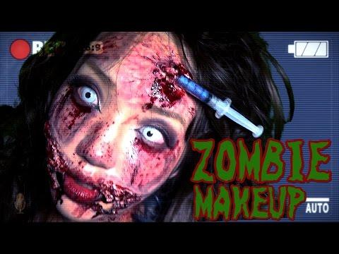 【Eng Subs】【グロ注意】ガチでゾンビ特殊メイクしてみた/Halloween Zombie prosthetic Makeup