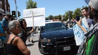 Donald Trump rally Fresno/ Police car