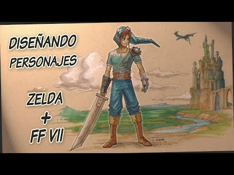 Speed Art drawing  - Zelda + Final Fantasy fanart - Character design