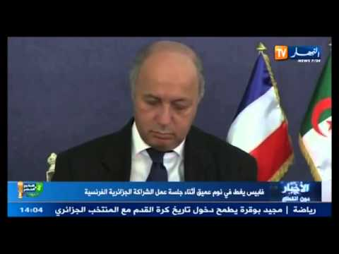 Laurent Fabius foreign minister of France is very sleepy
