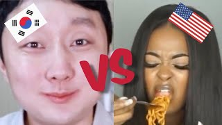 🔥Koreans VS Non-Koreans eating SPICY NOODLES! 🔥😱