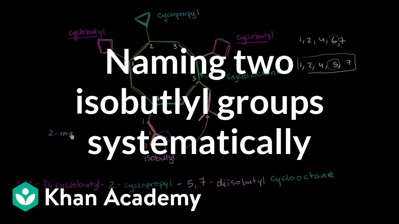 Naming Two Isobutyl Groups Systematically Organic Chemistry Khan Academy