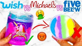 WISH SLIME VS FIVE BELOW SLIME VS MICHAELS SLIME! Which Is Worth It?!?