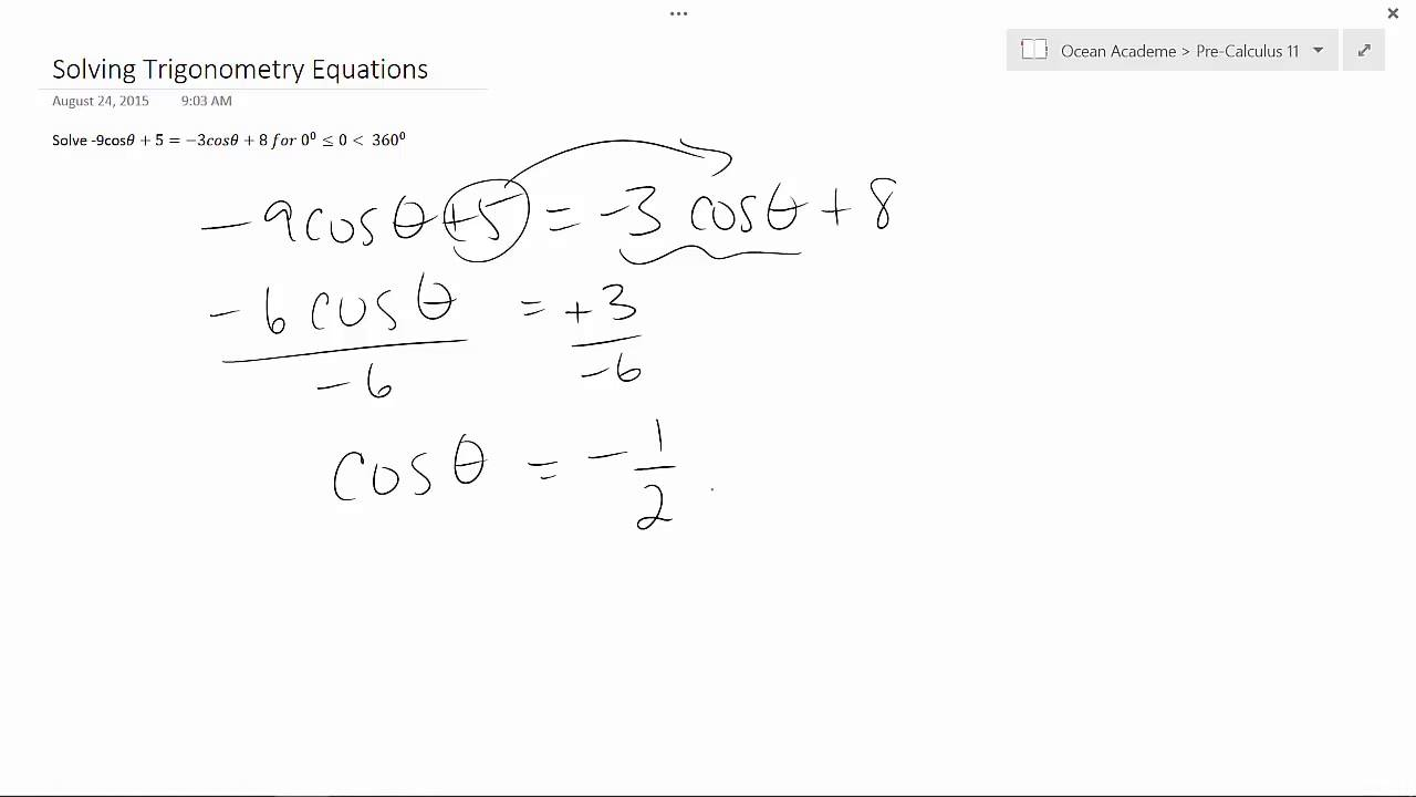 Pre-Calculus 11 - Solving Trigonometry Equations
