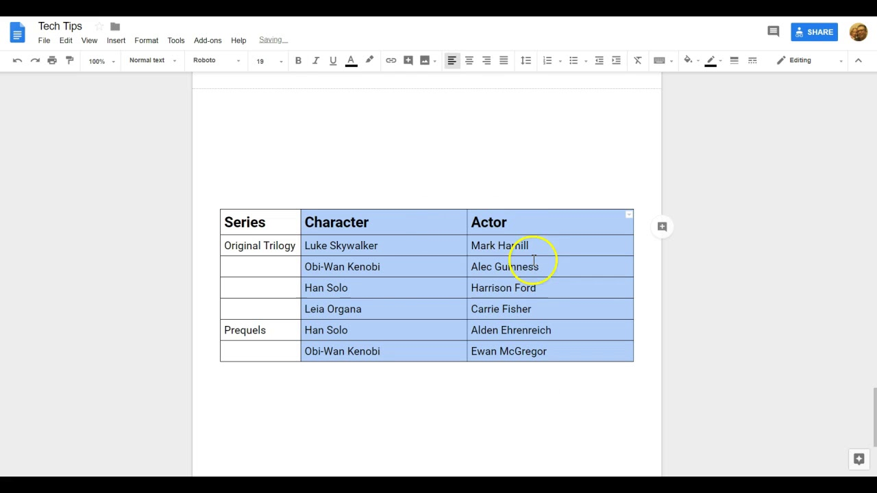 Resizing Table Columns or Rows in Google Docs