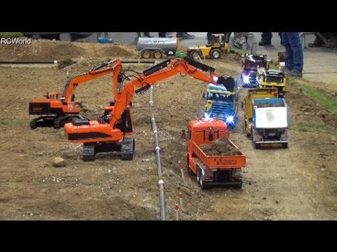 RC Trucks Construction Site 2/3 Excavator Dozer Baustelle LKW ♦ Modellbaumesse Wels 2016 Modellbau