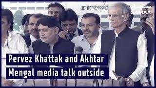 Pervez Khattak and Akhtar Mengal media talk outside national Assembly
