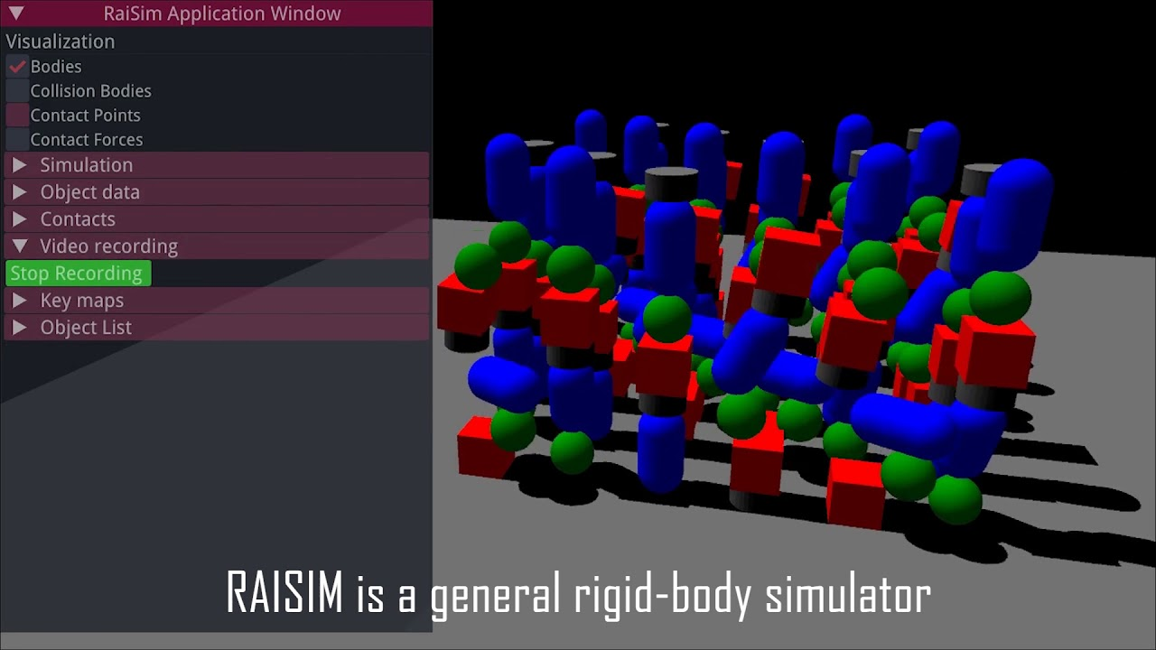 RAISIM, a physics engine for robotics and AI research