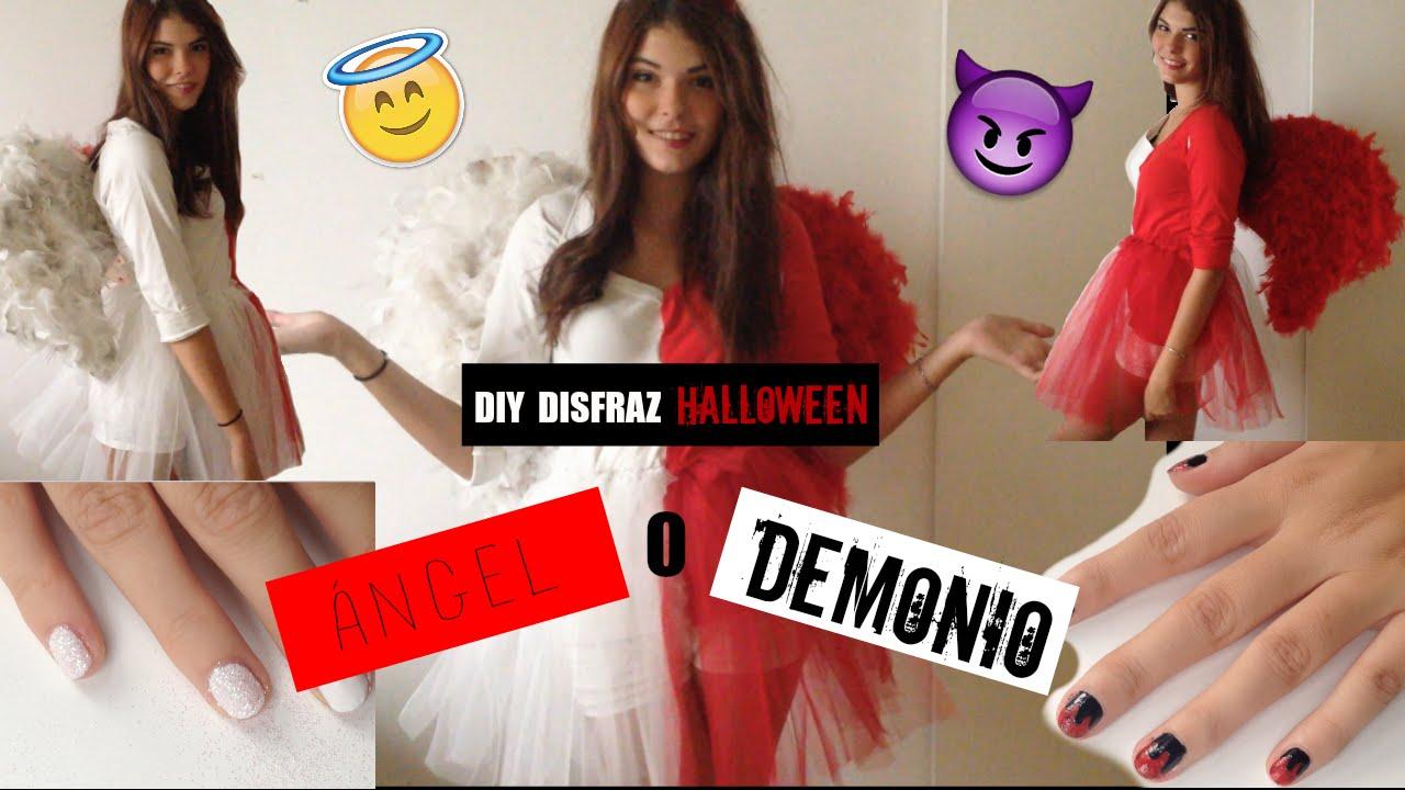 DIY HALLOWEEN: ÁNGEL O DEMONIO / DISFRAZ + UÑAS YouTube