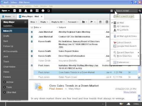 IBM Notes 9 Social Edition Search Mail and Archives at the Same Time