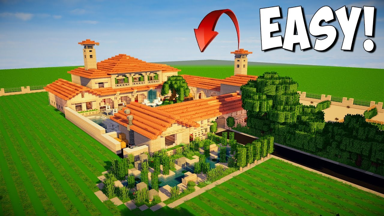 Minecraft How To Build An Italian Villa Tutorial Epic Minecraft Mansion Interior Youtube