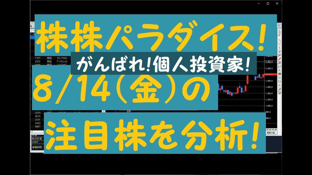 株株パラダイス!2020/8/14(金) の注目株を分析!以前、世界的 外資系 金融機関4社に勤務し、統括部長を経験した 株パラ がお送りします!!!