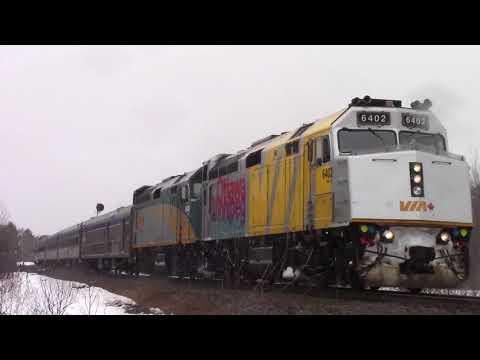 Strange Weather! VIA Rail Train 14 - Ocean w/Budds at Lutesville East (April 7, 2018)