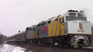 Strange Weather! VIA Rail Train 14 - Ocean w/Budds at Lutesville East (April 7, 2018)