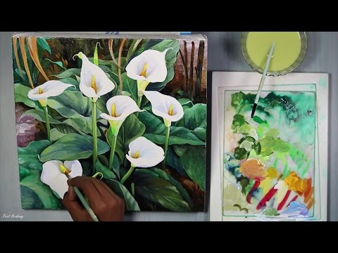 Acrylic on Canvas : Flowers | Time Lapse Art Video