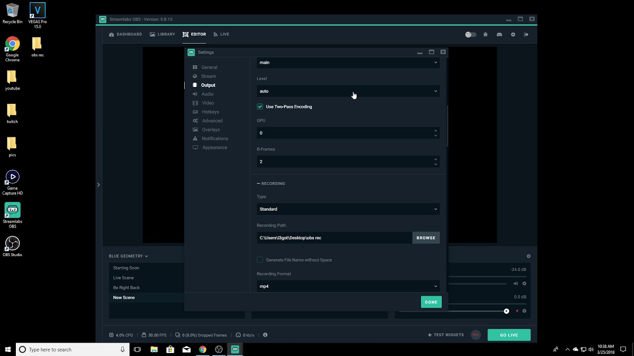 Stream settings obs