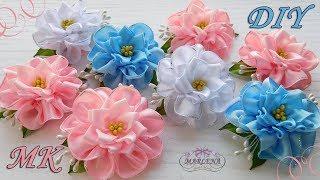 🌺 Flowers from satin ribbons. Hair clips. Kanzashi DIY
