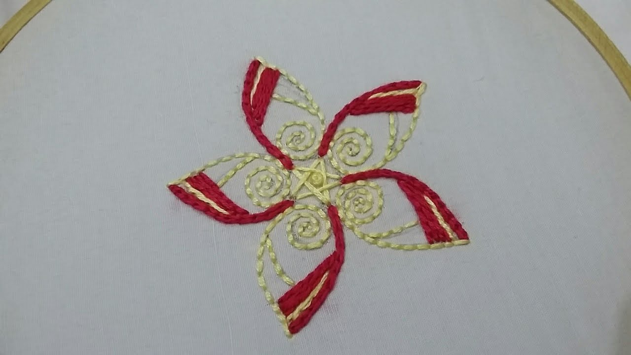 Hand embroidery of a flower pattern