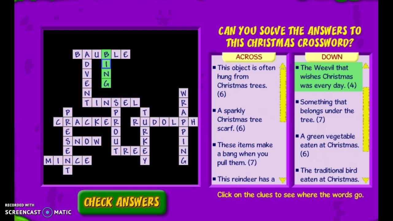 binweevils crossword christmas 2015 - Christmas Crossword Answers