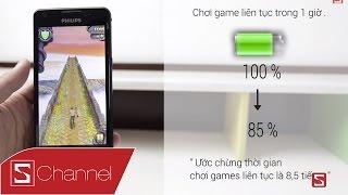schannel đnh gi siu pin philips w661 chơi games 8 5h web 25h video 16 6h sạc 8h40p