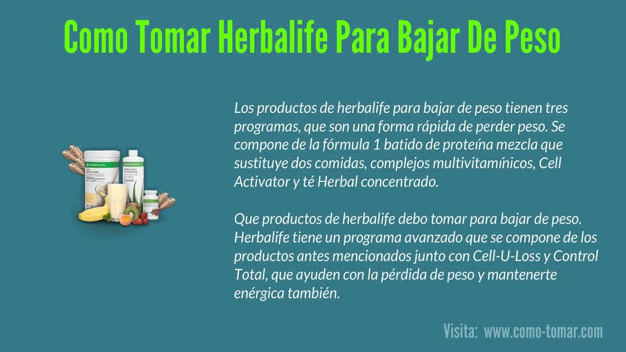 Como se usa herbalife para bajar de peso