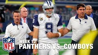 Romo Sacked & Injures Clavicle | Panthers vs. Cowboys | NFL