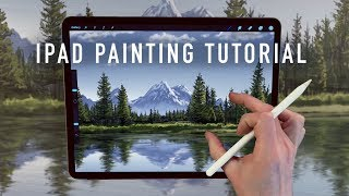 IPAD PAINTING TUTORIAL  Mountain and tree landscape art in Procreate