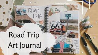 Route 66 Road Trip Scrapbook Spread | Art Journal | Vintage Journaling Aesthetic