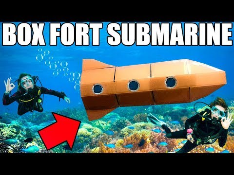 24 HOUR BOX FORT SUBMARINE CHALLENGE!!  Scuba Tanks, Onboard Oxygen & More!