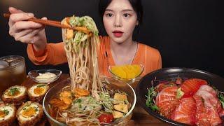 SUB)감칠맛 가득 시원~한 냉모밀에 연어덮밥 타마고멘…